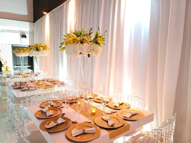 golden decoration for centerpiece at banquet hall