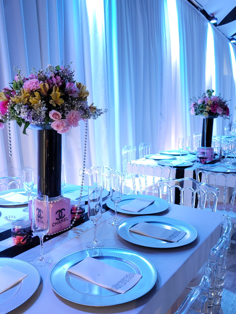 centerpieces decoration blue banquet hall in kendall