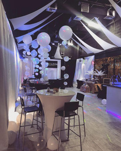 event room decorated for adult party