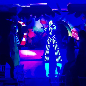led robots show at teen birthday party
