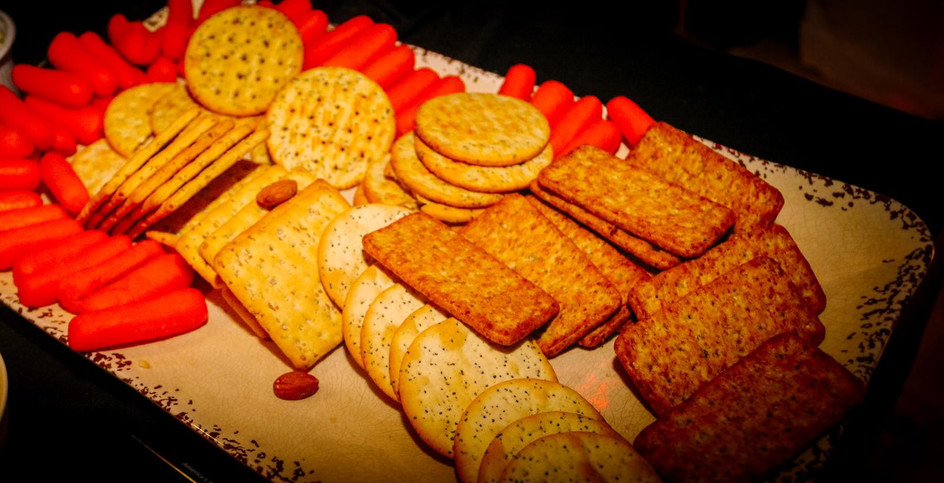crackers and strawberries in event hall catering service