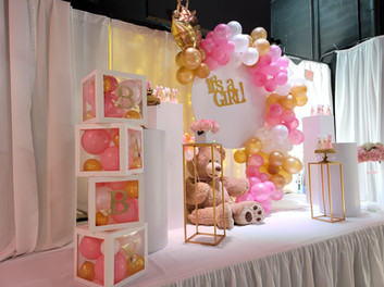 pink baby shower in event venue in Miami
