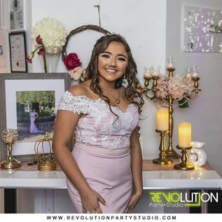 birthday girl white dress smiling on 15th birthday