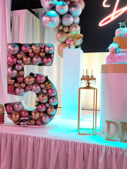 quinceanera birthday decorated with balloons