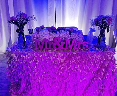 Pink wedding table arrangement