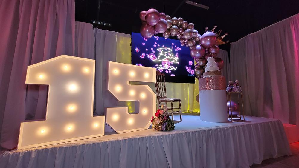 banquet hall in miami decorated for quinceañera