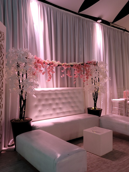 event hall in kendall decorated with flowers