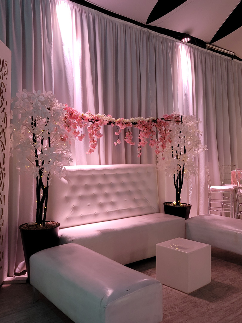 Party venue decorated with flowers in Kendall Miami
