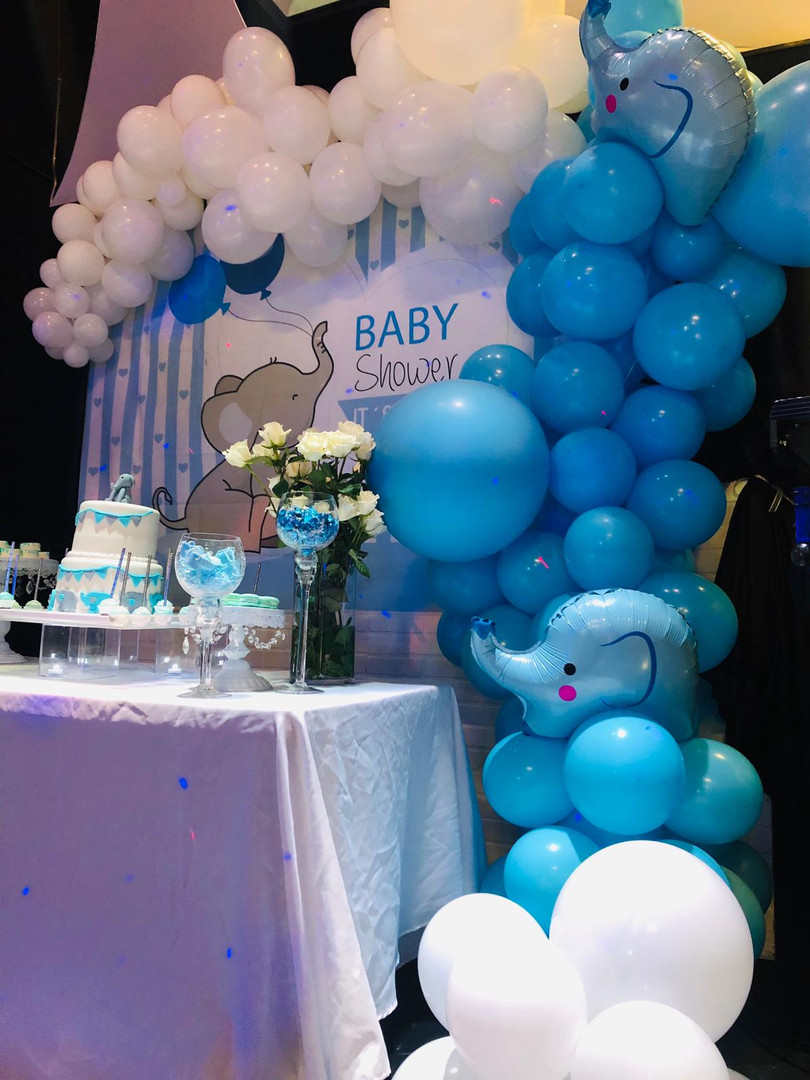 blue and white balloons baby shower event venue