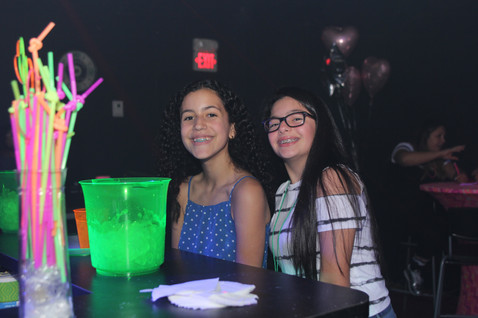 guests at snack table at teen party
