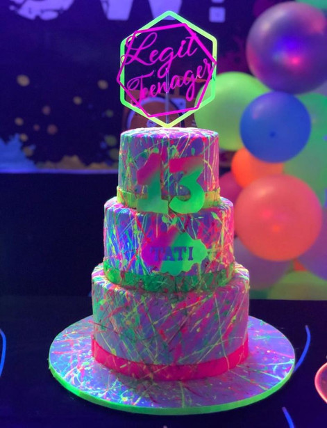 3 story cake themed neon 13th birthday