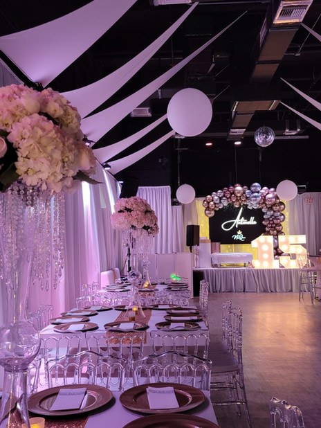 Banquet hall in Kendall with pink lights