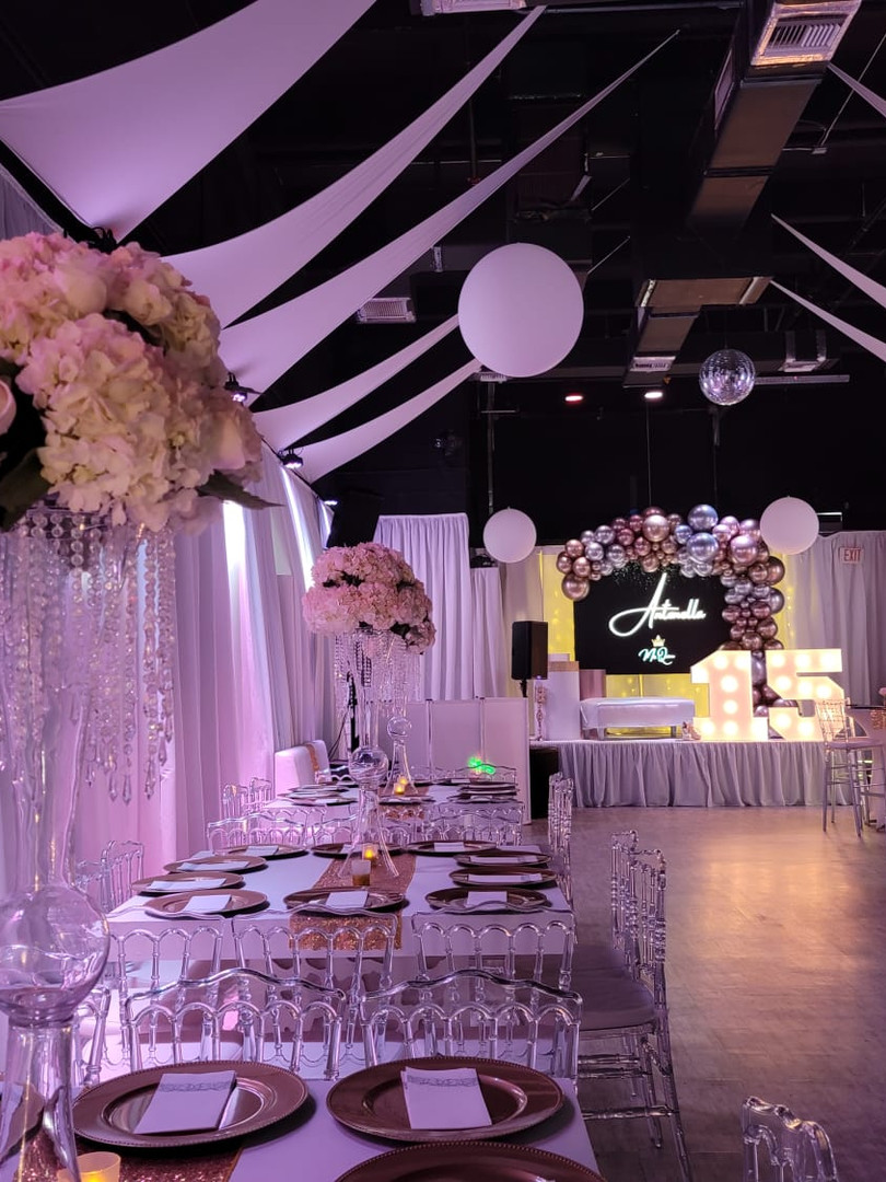 Banquet hall with pink lights in Kendall Miami