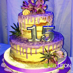 3 story cake decorated for 15th birthday party