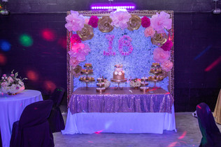 Sweet 16 flowers decoration in a event hall