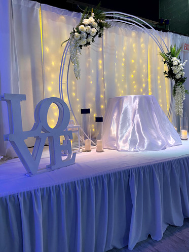 love sign at stage for wedding