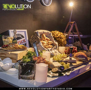 table with food in event hall catering service