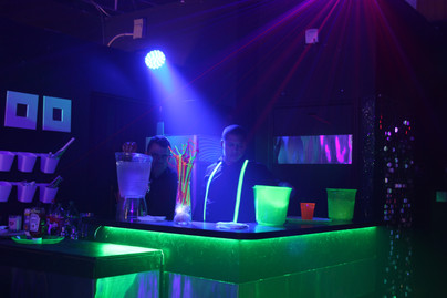 green neon bar at teen party