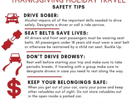 Thanksgiving Holiday Travel Safety Tips