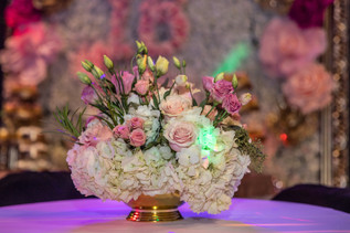 flowers as centerpiece sweet 16 party