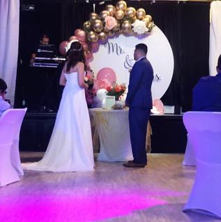 Bride and groom in wedding venue in Miami