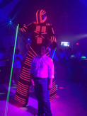 led robot giving show at event hall