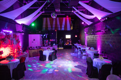 Pink decorated banquet hall in miami