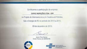 Certificado de participação do Projeto Qualimundi Petróleo Gás e Energia do RS