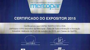 Certificado de Expositor: Feira Mercopar 2015