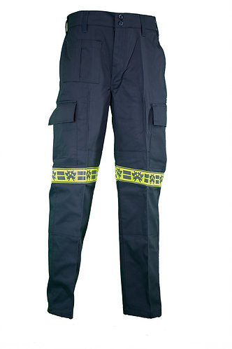Combat trousers with crossed axes reflective tape