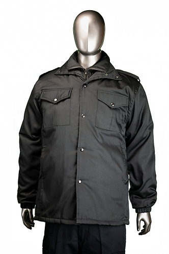 Double collar jacket - Hip length -Black