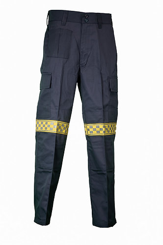 Combat trousers with checkerboard reflective tape