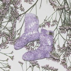 Lace knit lavender baby Socks