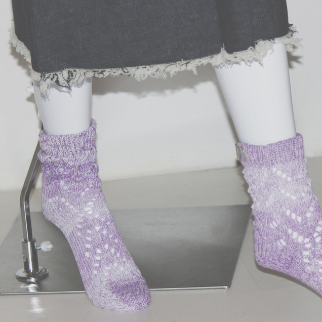 Lace knit lavender M size Socks