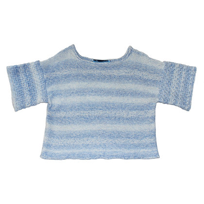 Ice blue tuck sleeve knit Top