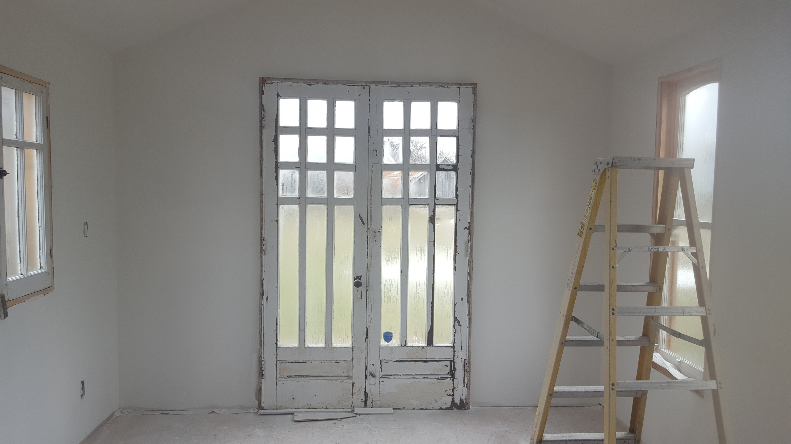 Antique french doors face east