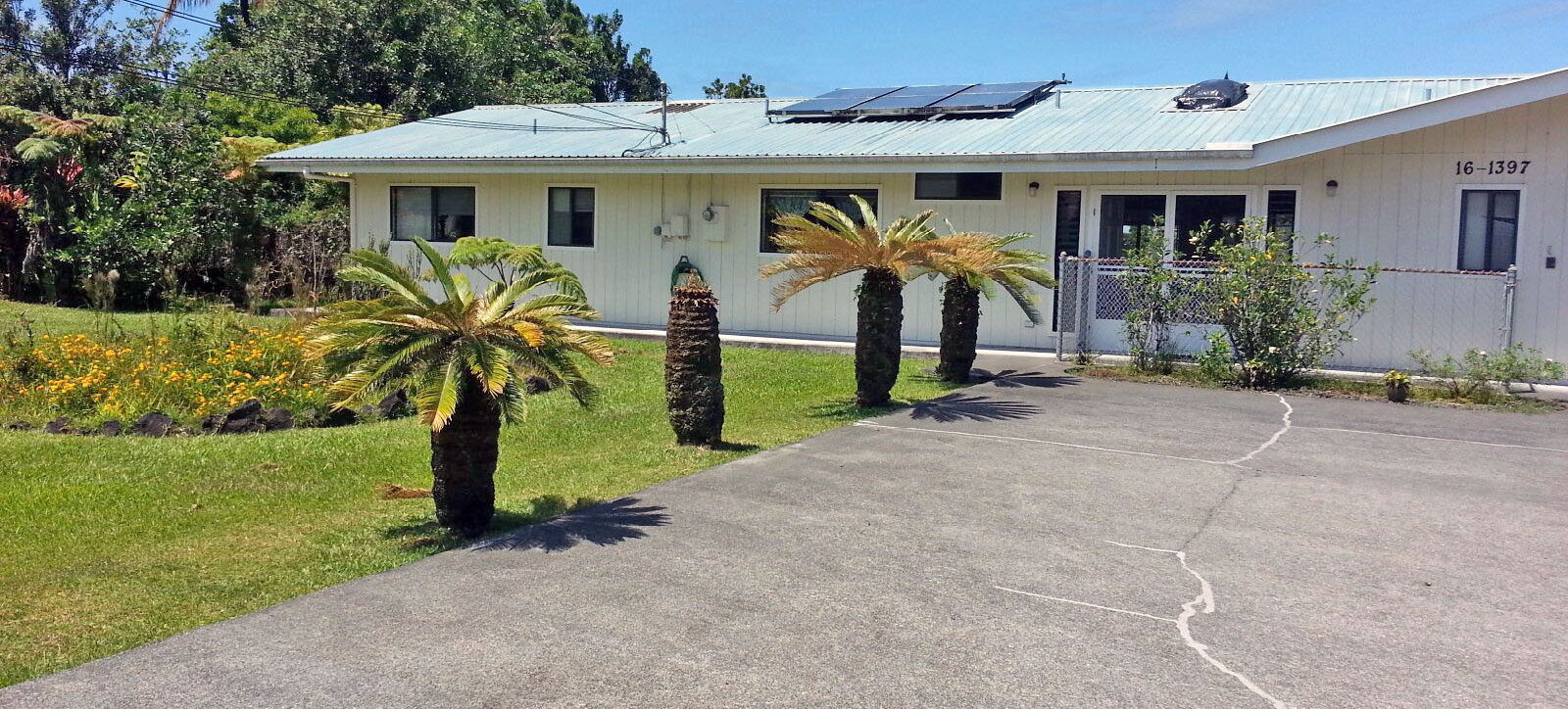 Okano Care Home's front drive and lawn. The lawn features flowers and palms.