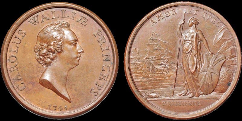 Medal struck to commemorate the 1745 Rising. Note the Union Jack shield.