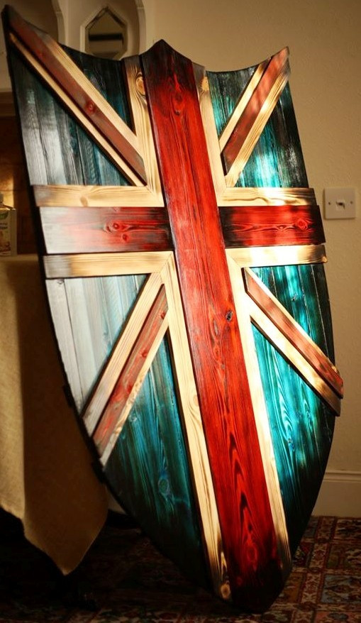 A wooden Union Jack Shield from Dramatic Scotland Creations at facebook.com/DramaticScotland/