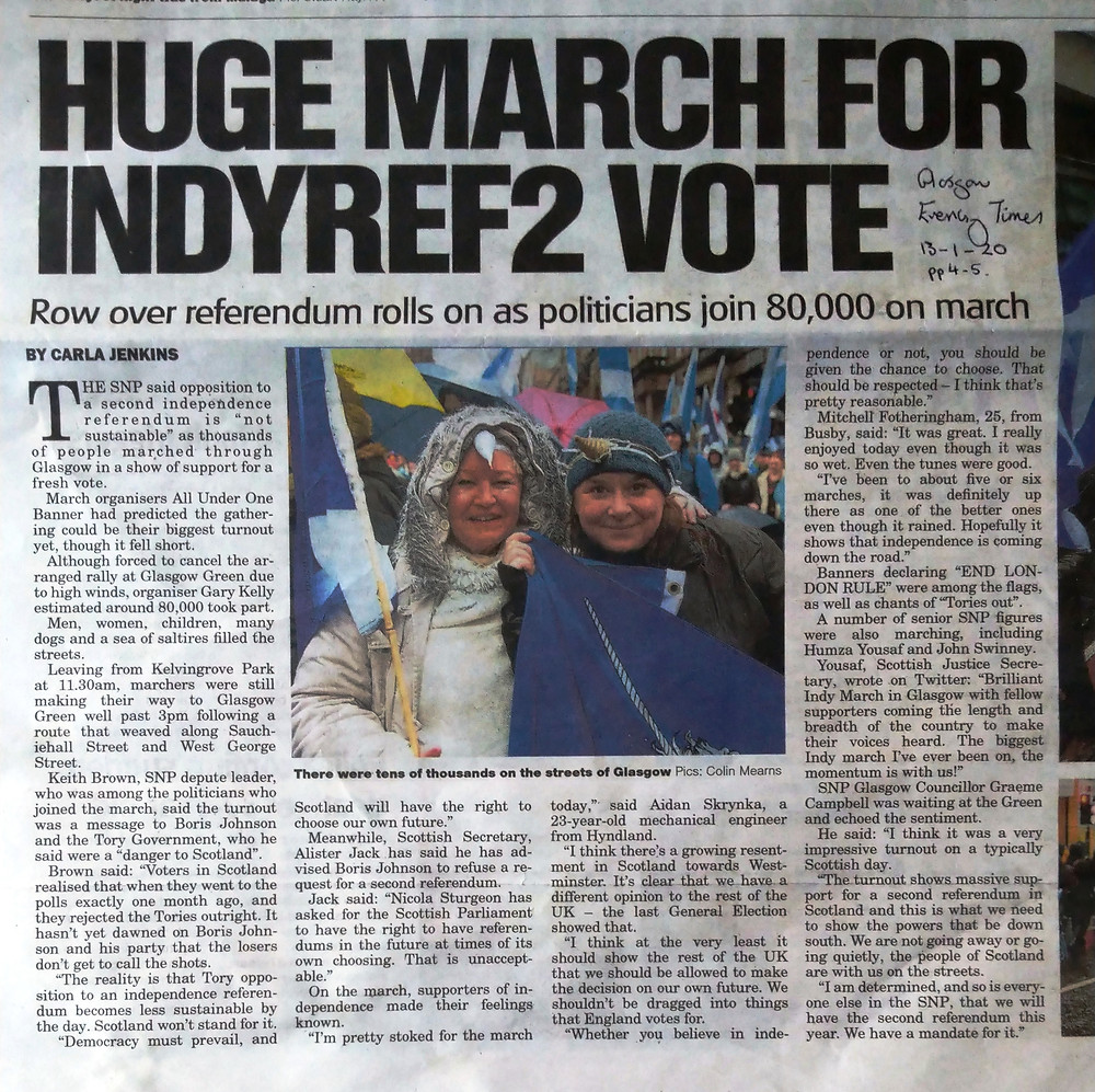 Glasgow Evening Times 13-2-20 - the sub-heading is the object of our complaint