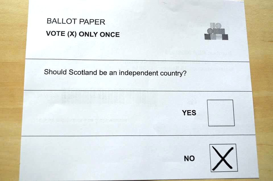 The ballot paper at the UK membership referendum on 18 September 2014
