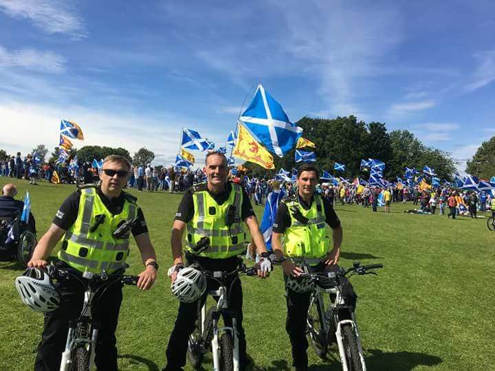 More happy Police Officers balancing in front of ScotNat iconography 23-6-18