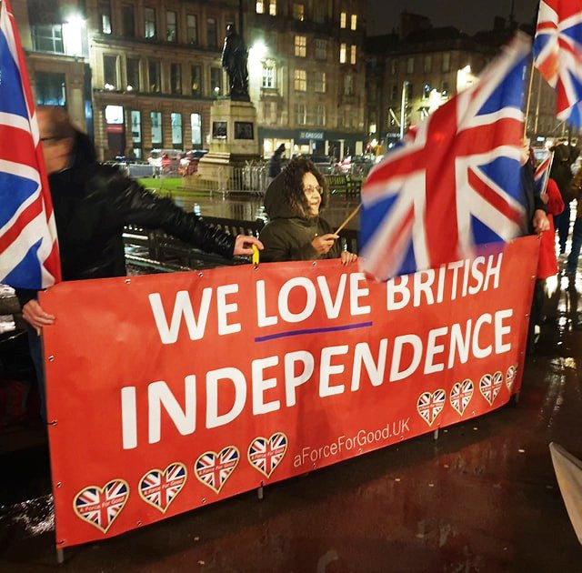 Activists at our Great British Brexit Celebration Meet-Up on Brexit night, 31-1-20 at 11pm in the heart of the Great British City of Glasgow.