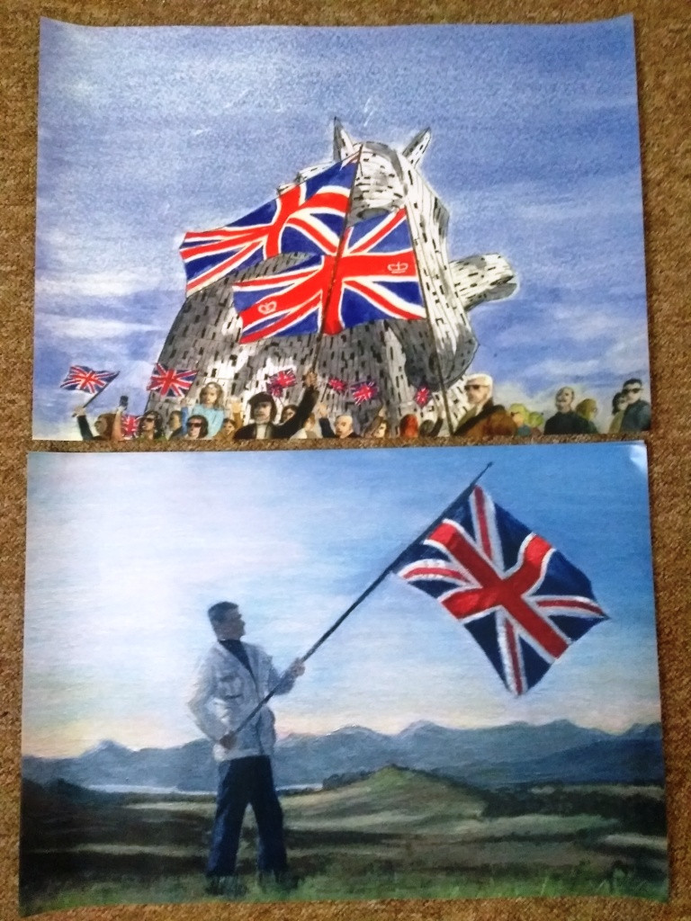 A2 posters of paintings of Union Jacks at the Kelpies and above Loch Lomond