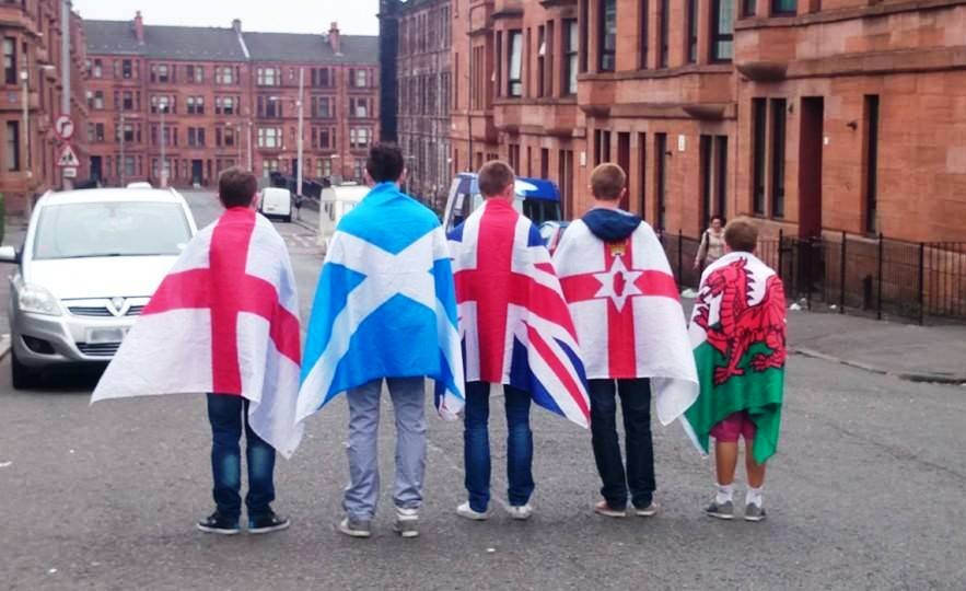 Patriotic young British people at the 2014 referendum, in Glasgow