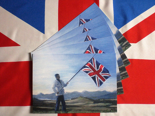5 Greeting Cards Union Jack at Loch Lomond