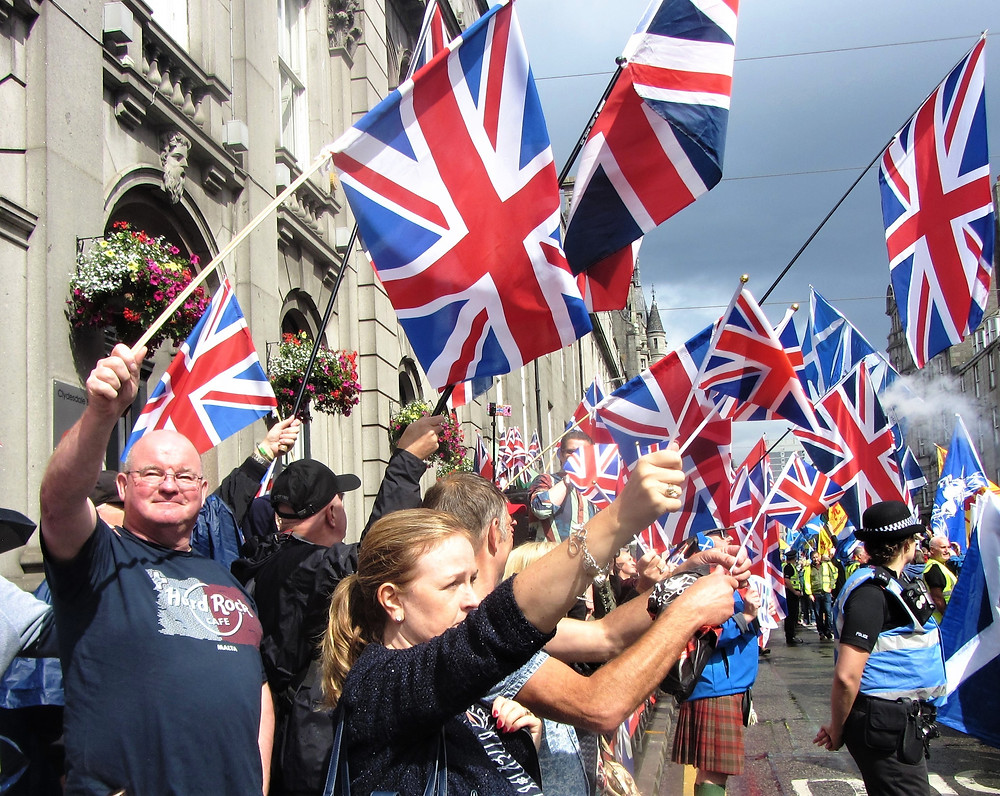 A Force For Good's Red White and Blue flags do the Talking for us in Union Street in Aberdeen 17 August 2019