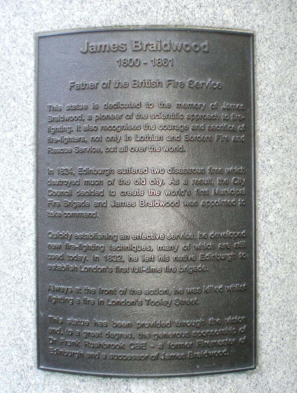 James Braidwood, Plaque. Pic: AFFG 6-10-18
