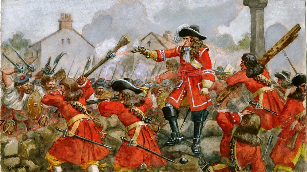 """The Earl of Angus's Regiment (The Cameronians) at the Defence of Dunkeld, 1689"" by Richard Simkin. Pic from Wikipedia."