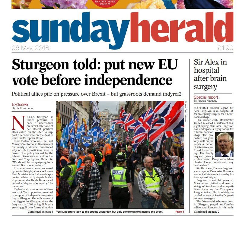 Sunday Herald 6-5-18 showing AFFG's Activists